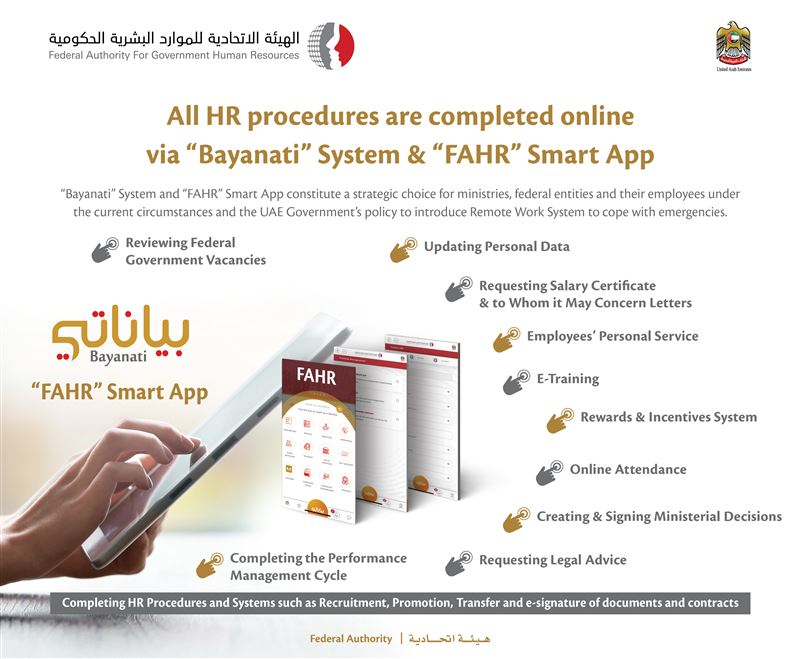 "HR Transactions for Federal Government employees through 'Bayanati' Self-Service and ""FAHR"" Smart App"
